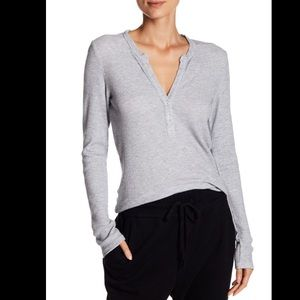 James Perse Light Grey Ribbed Henley Thermal Top